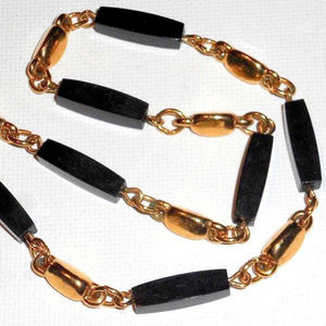 vintage Trifari gold black glass choker necklace